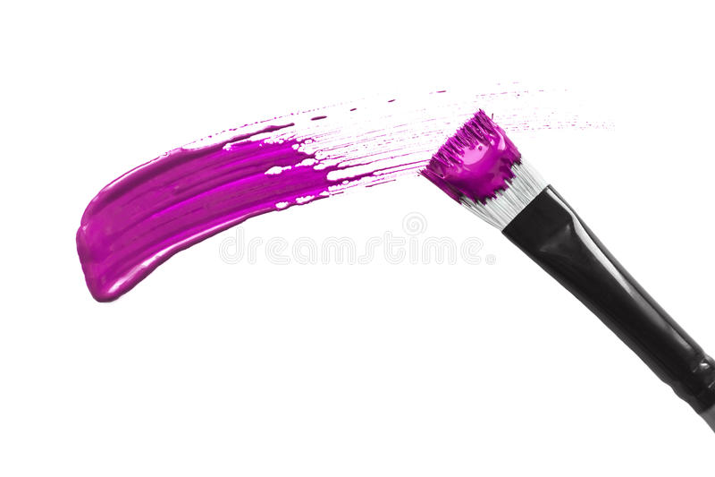 Brush stroke. Magenta pink brush stroke isolated over white stock photos