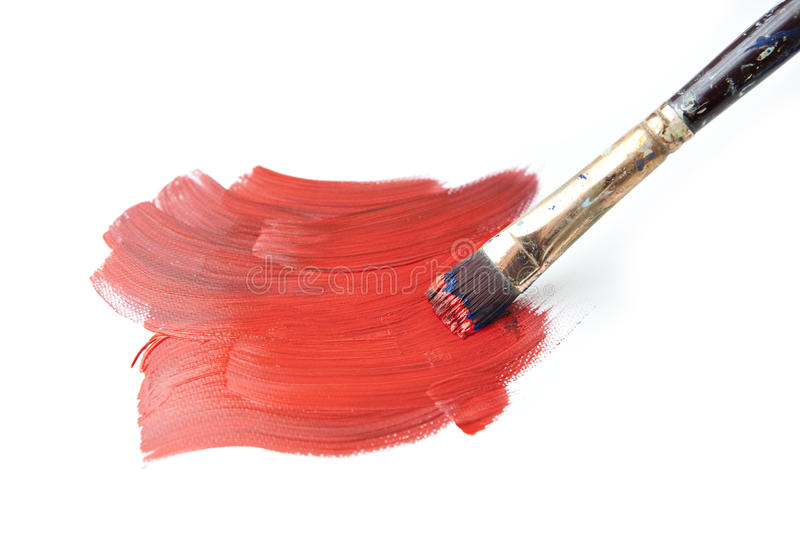 Brush Stroke With Paintbrush Isolated On White Royalty Free Stock Image