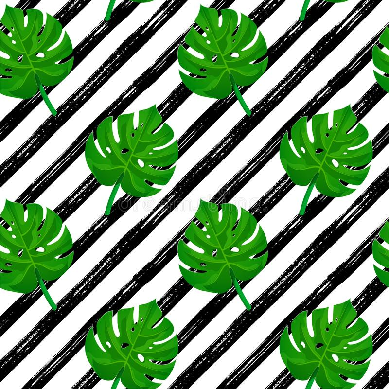 Brush stroke pattern monstera stock illustration