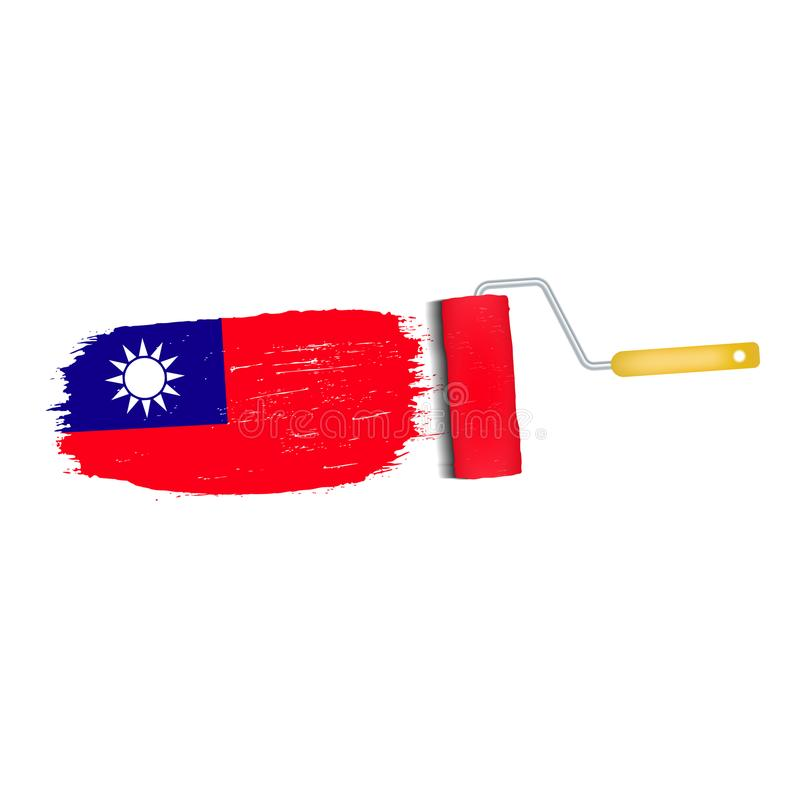 Brush Stroke With Taiwan National Flag Isolated On A White Background. Vector Illustration. vector illustration