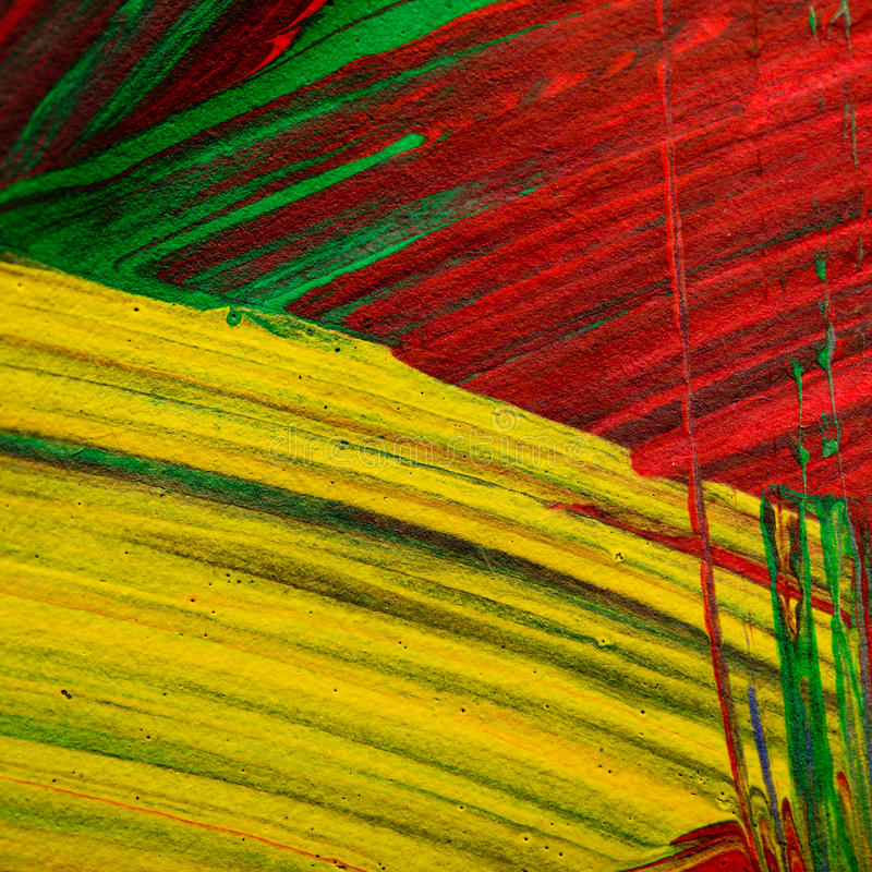 Brush strokes. Random splashes of color with paint brush strokes: yellow, red, and green stock photos