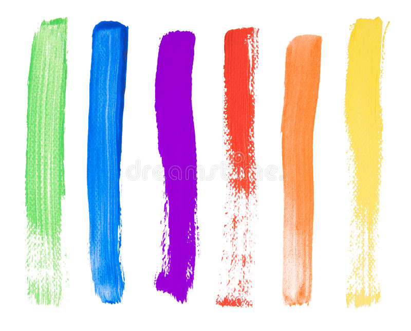 Brush strokes. Colorful brush strokes isolated on white background royalty free stock photo