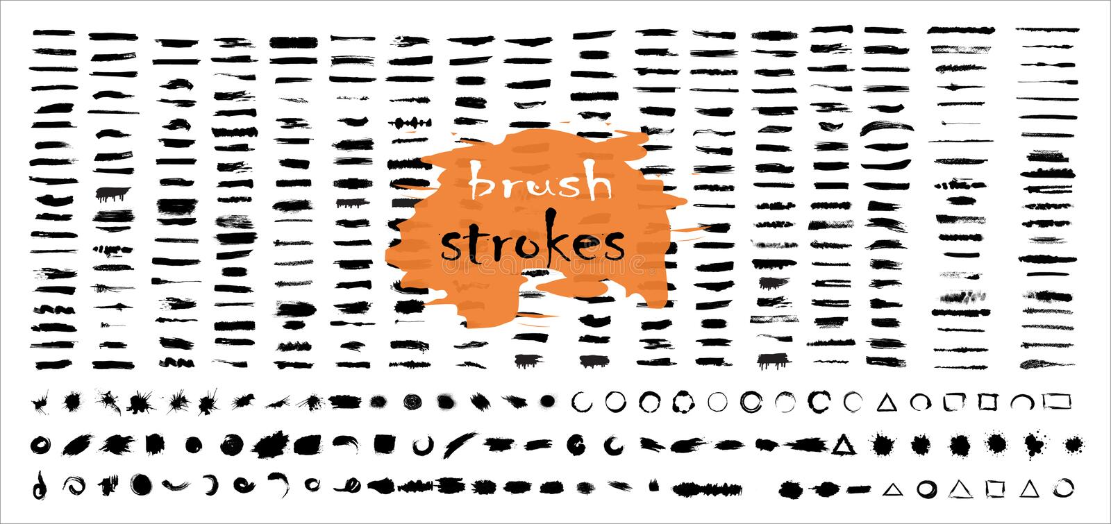 Brush  strokes bundle. Vector paint brush  set. Circle frames. Round grunge design elements.  Dirty distress  texture banners. Ink stock illustration