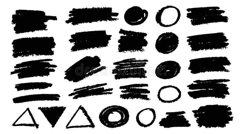 Brush strokes bundle. Vector paintbrush set. Round square circle rectangle diagonal grunge design elements royalty free illustration