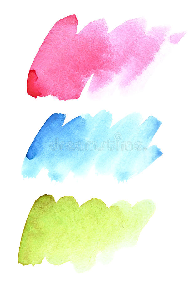 Brush strokes of different colours. Set of watercolor brush strokes of different colours isolated on the white background. Vivid elements for your design and royalty free illustration