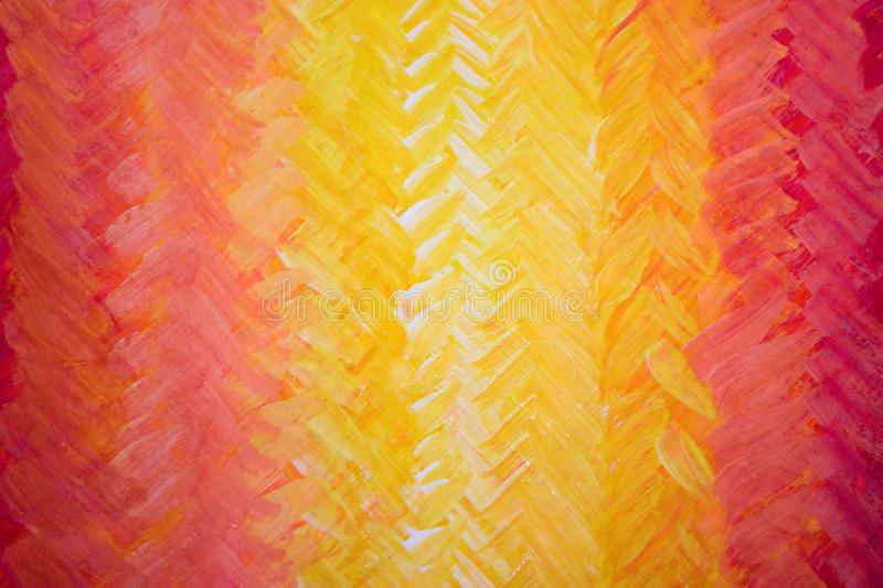 Brush strokes form herringbone pattern. Joyful bright multicolored backdrop. A beautiful smooth transition from red to yellow and back. Gdaddientny background royalty free illustration
