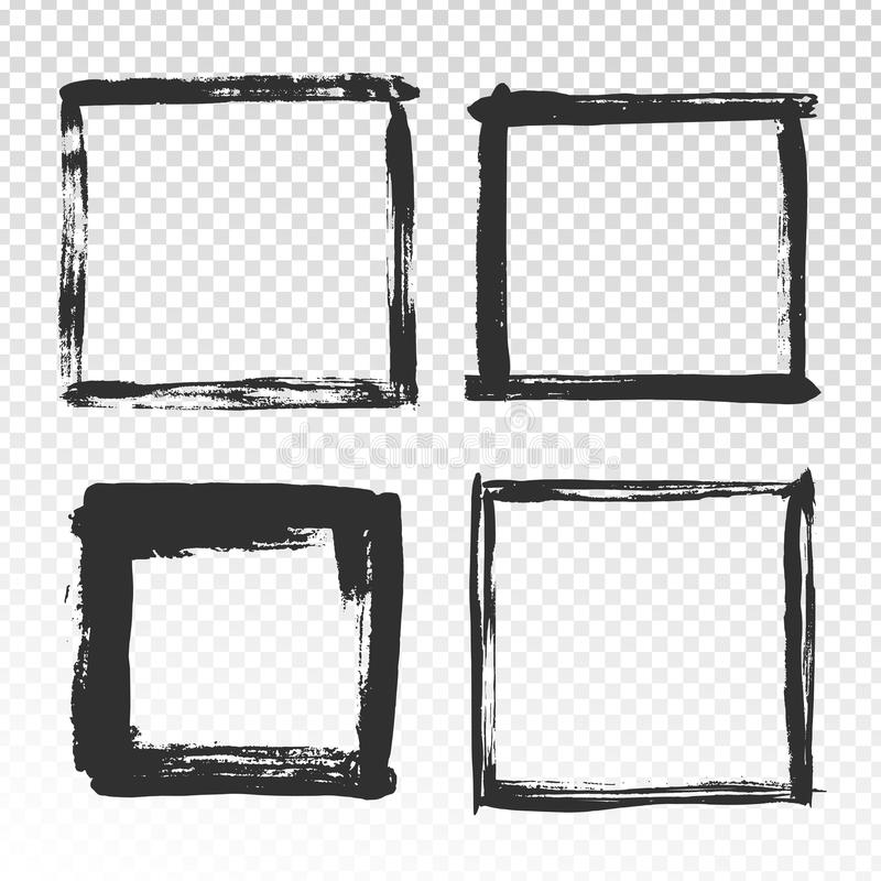 Brush strokes frame. Black grunge square borders, paint brushes photo frames and hand drawn antique edges texture vector illustration