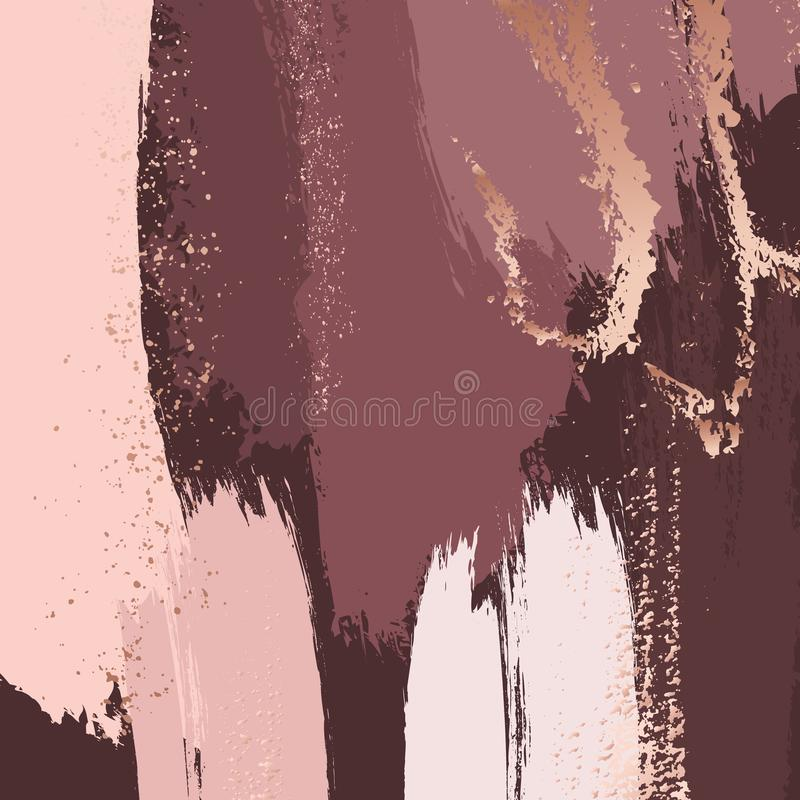 Brush strokes in gentle dusty rose tones and rose gold glitter splashes. Abstract vector background. Dark red luxury. Design royalty free illustration