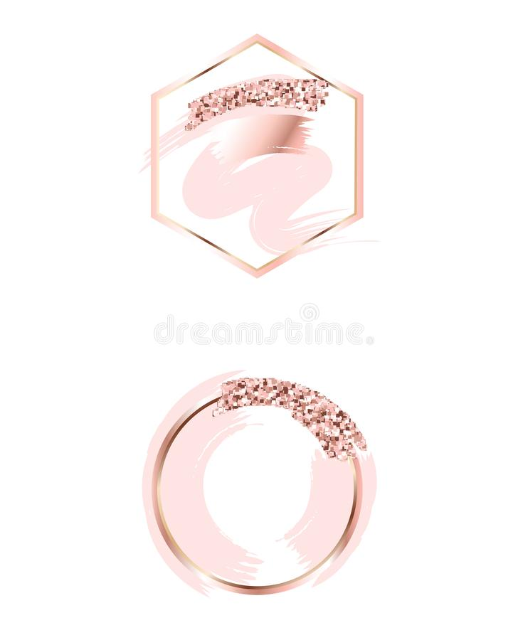 Brush strokes in gentle pink tones.Gentle pastel colors.Rose gold frame circle and hexagonal frame .Abstract vector background.Pin royalty free illustration
