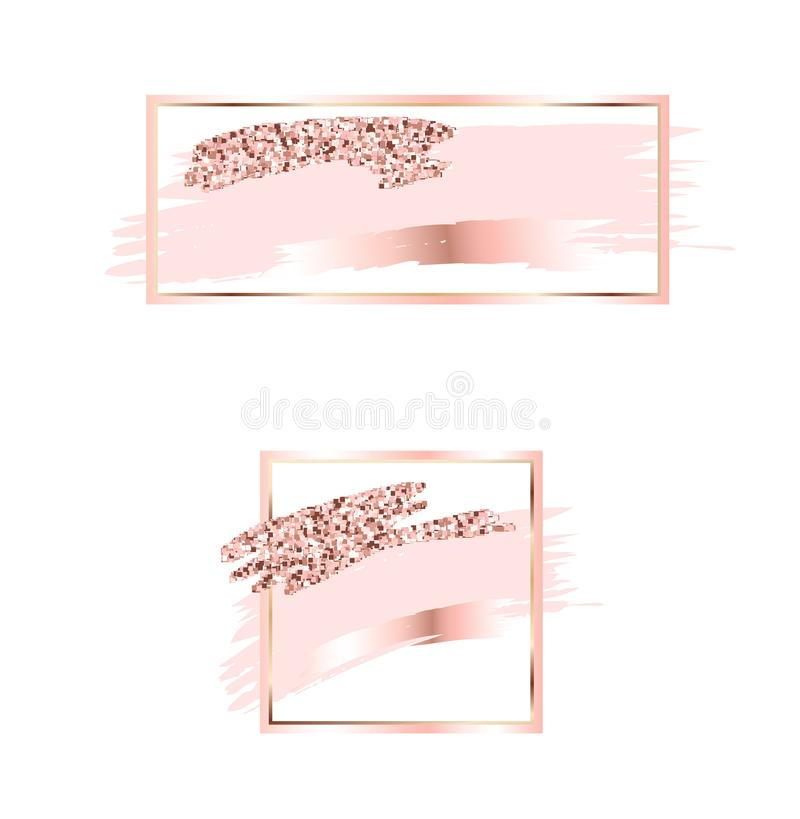 Free Brush Strokes In Gentle Pink Tones.Gentle Pastel Colors.Rose Gold Frame.Abstract Vector Background.Shiny Golden Lightning.Pink Spa Royalty Free Stock Image - 116123256