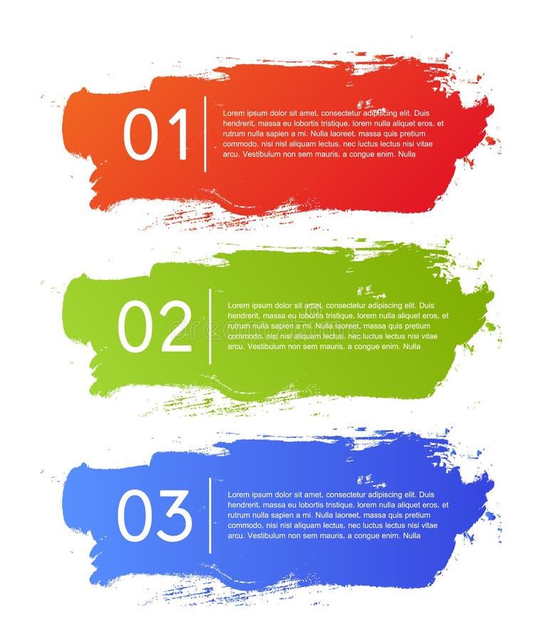 Brush strokes infographics options banner vector illustration