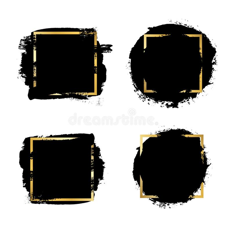 Brush strokes set, gold text box, isolated white background. Black paint brush. Grunge texture stroke frame. Ink design stock illustration