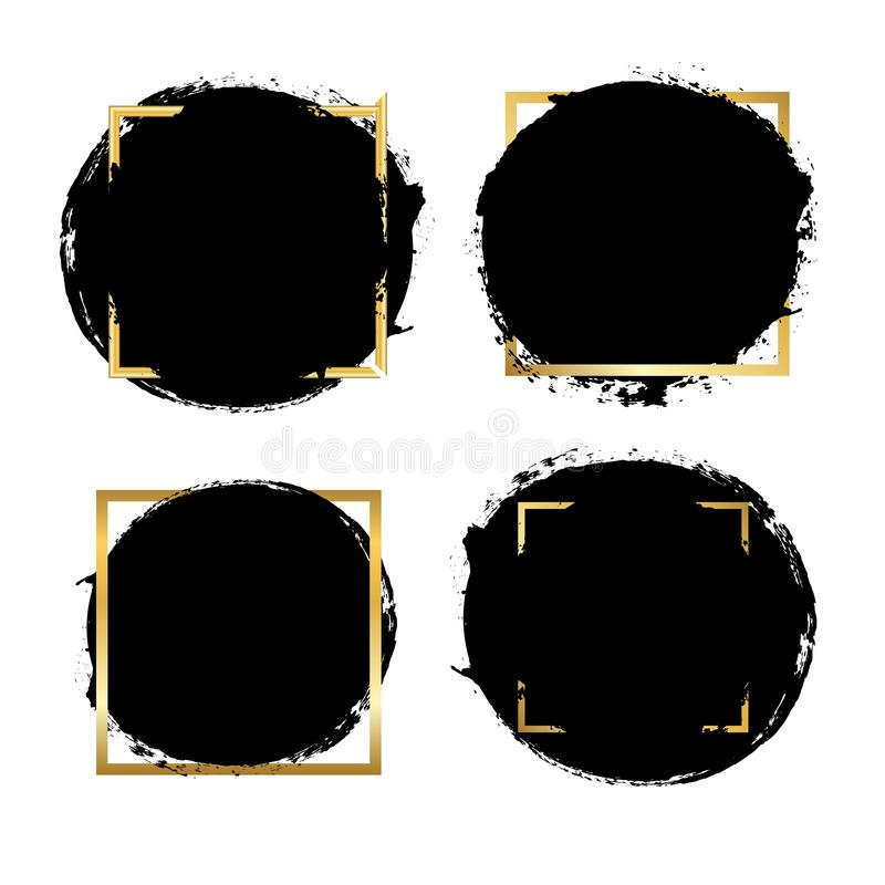 Brush strokes set, gold text box, isolated white background. Black paint brush. Grunge texture stroke frame. Ink design royalty free illustration