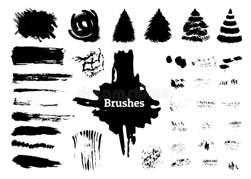 Brush strokes stains. Set of brushes. Brush strokes and poster pen. Grunge texture for web design. Vector illustration isolated white background royalty free illustration