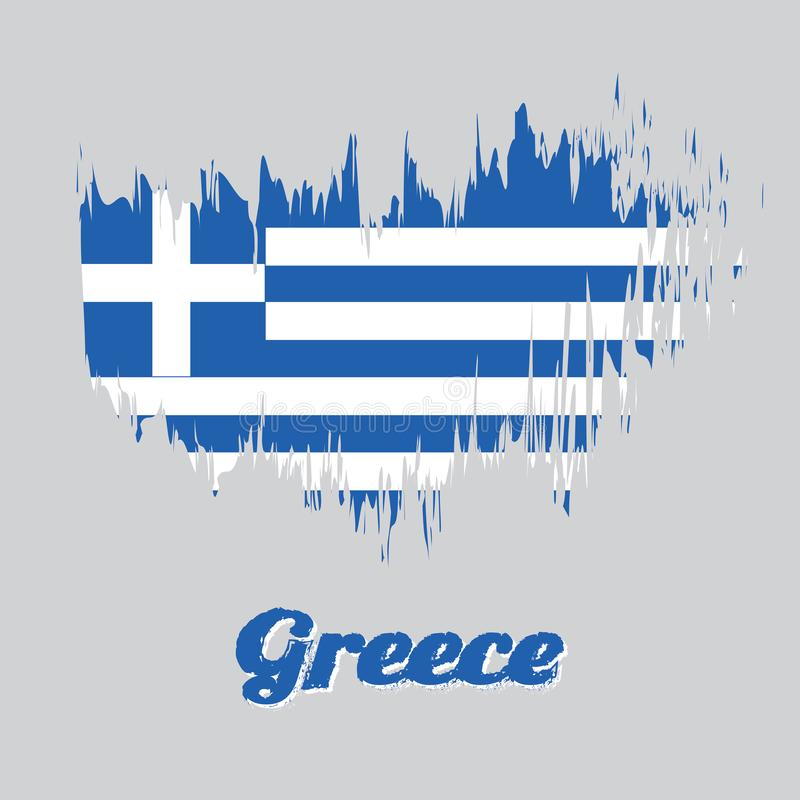Brush style color flag of Greece, Nine stripes of blue and white; a white cross on a blue square. royalty free illustration