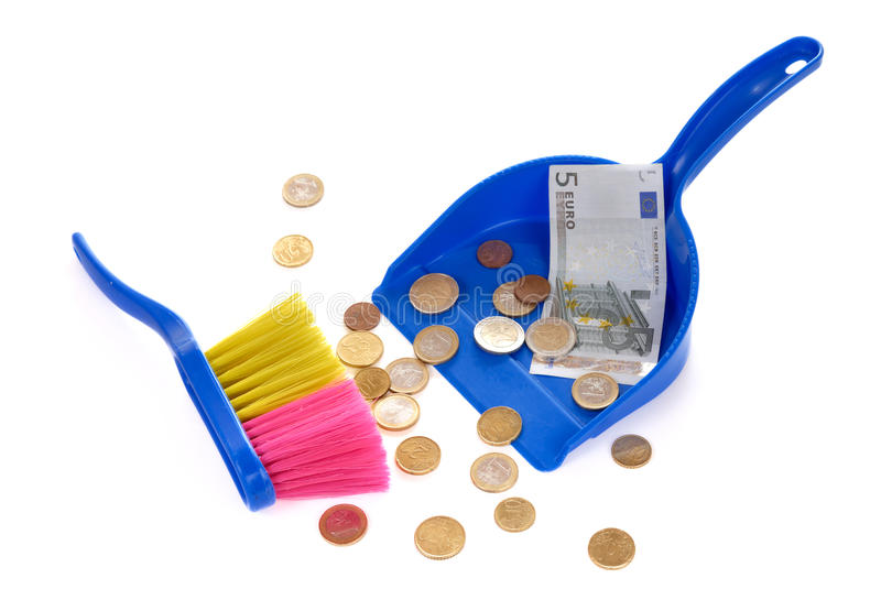 Brush Sweeping Euro Coins And Banknote Isolated Royalty Free Stock Photos