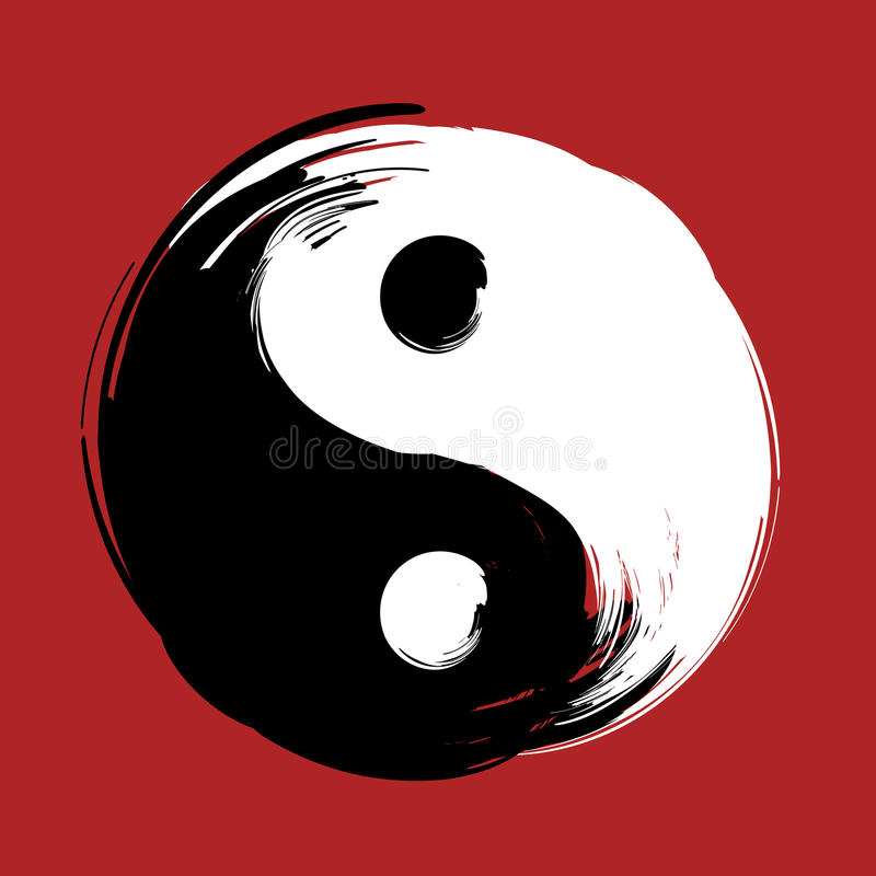 Brush Swirl Spiral Yin Yang Symbol Stock Vector Illustration Of