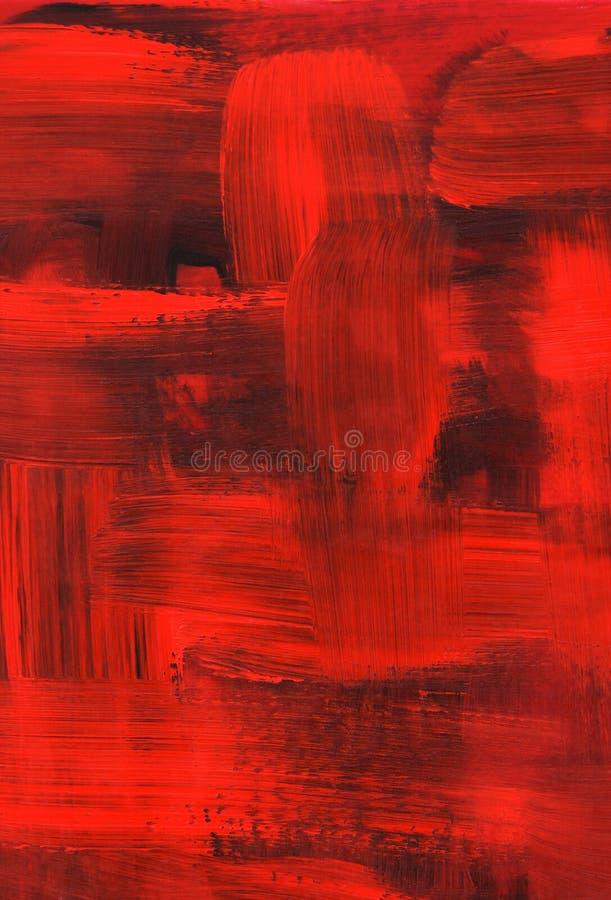 brush textur för slaglängder för oljemålningen röd royaltyfri illustrationer