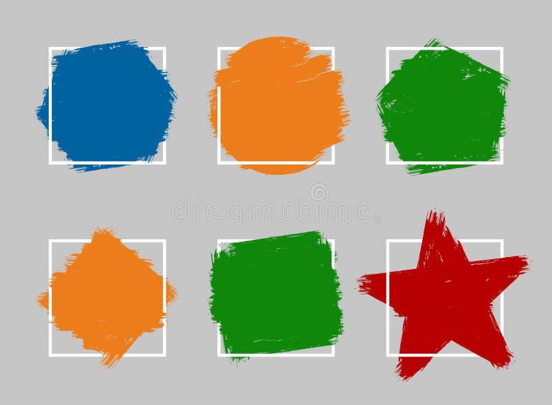 Brush water color hand draw lines placeholder framed set vector illustration