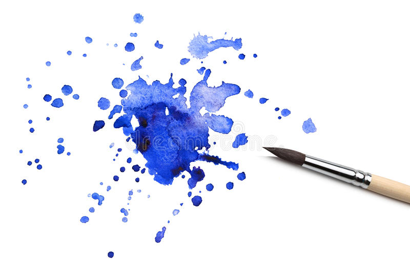 Brush and watercolor blot. Brush and abstract watercolor blot royalty free stock photography