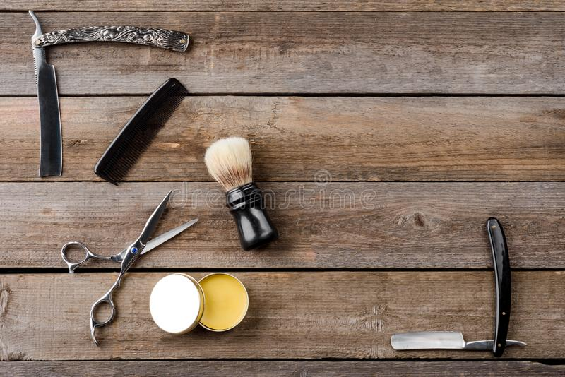 Wax, scissors and brush royalty free stock image