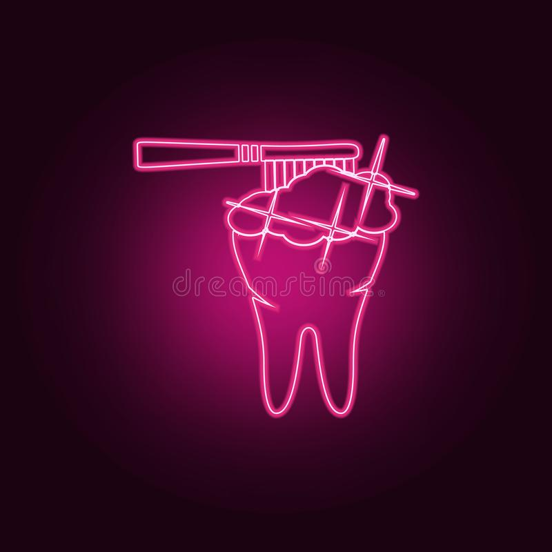 Brush your teeth icon. Elements of Dental in neon style icons. Simple icon for websites, web design, mobile app, info graphics. On dark gradient background vector illustration