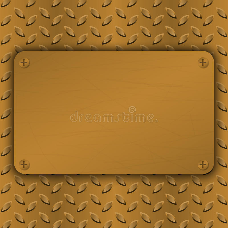 Brushed Brass, copper latticed surface template. Abstract industrial techno vector illustration. Metal background royalty free illustration