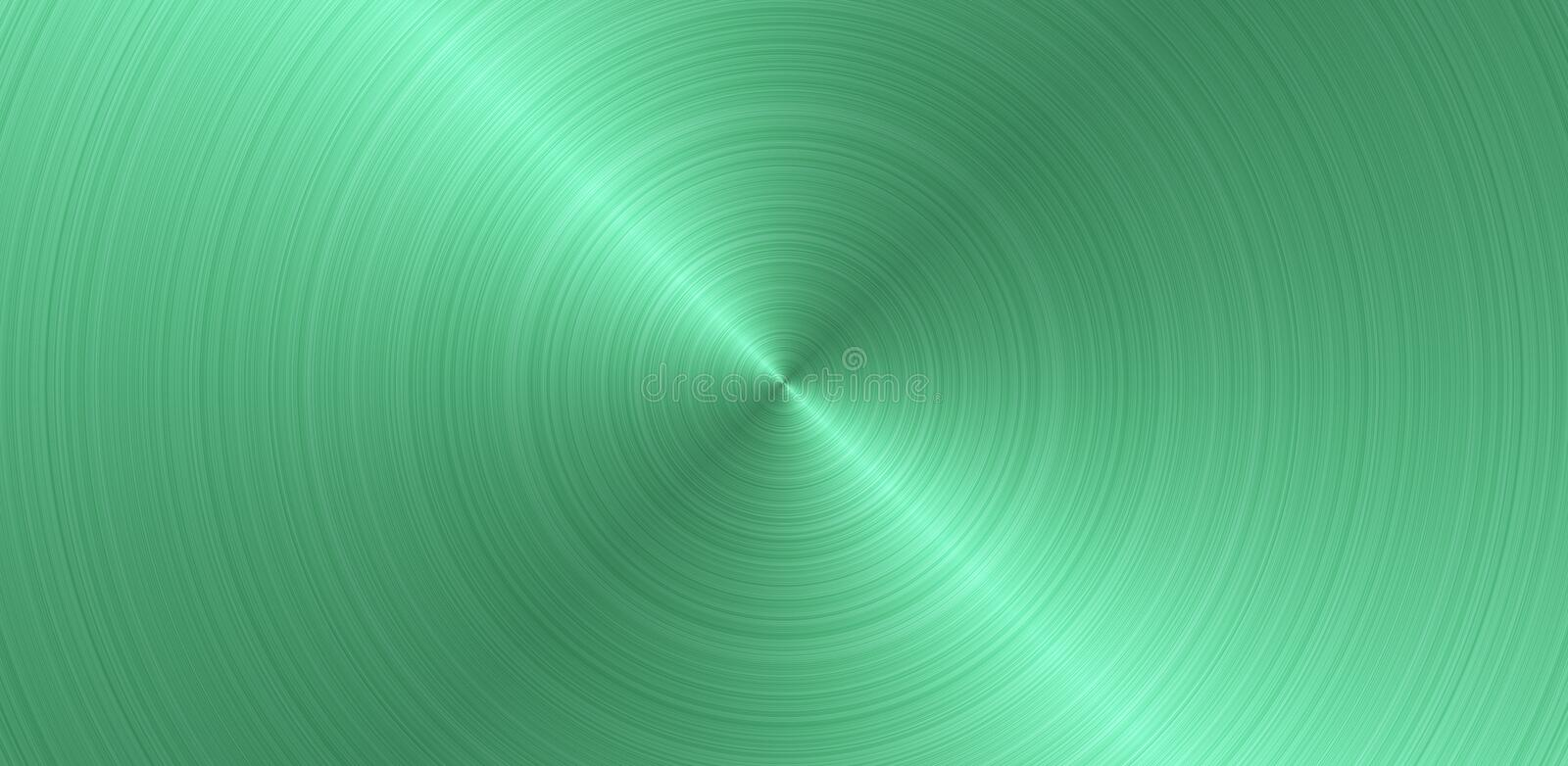 Brushed circular green metal surface. Texture of metal. Abstract steel panoramic background.  vector illustration