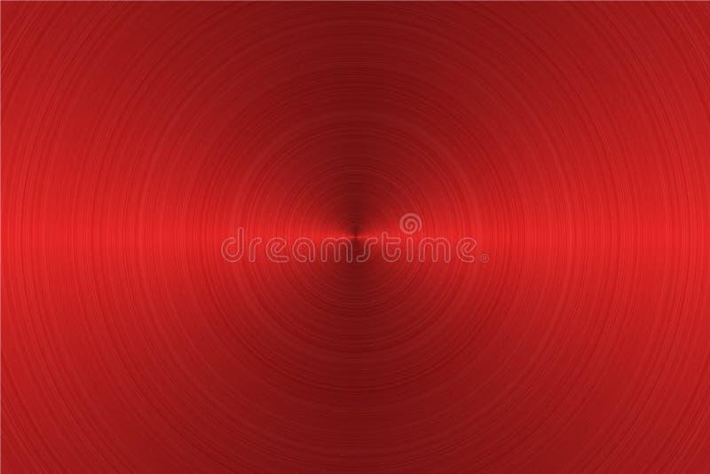 Brushed circular red color metal surface. Vector illustration royalty free illustration