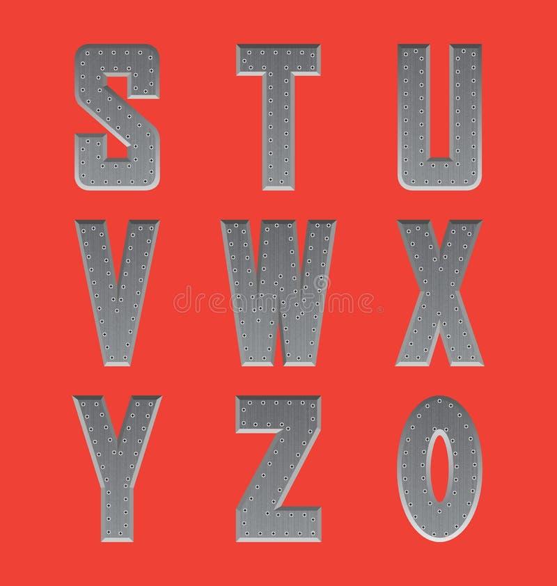 Brushed metal font series 3 royalty free stock image