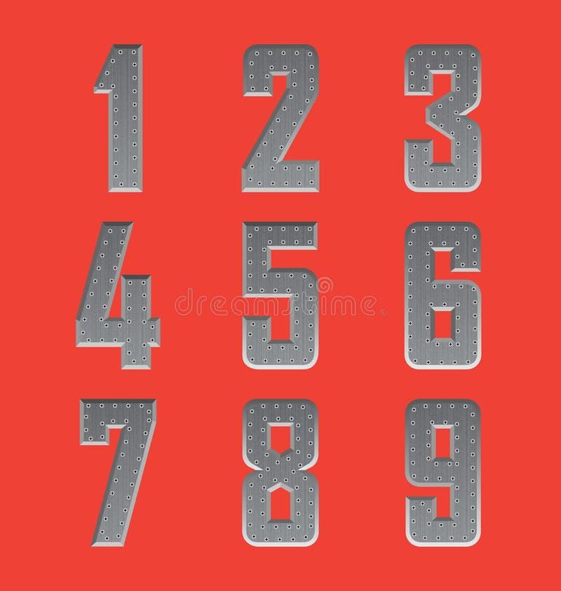 Brushed metal font series 4 stock photos