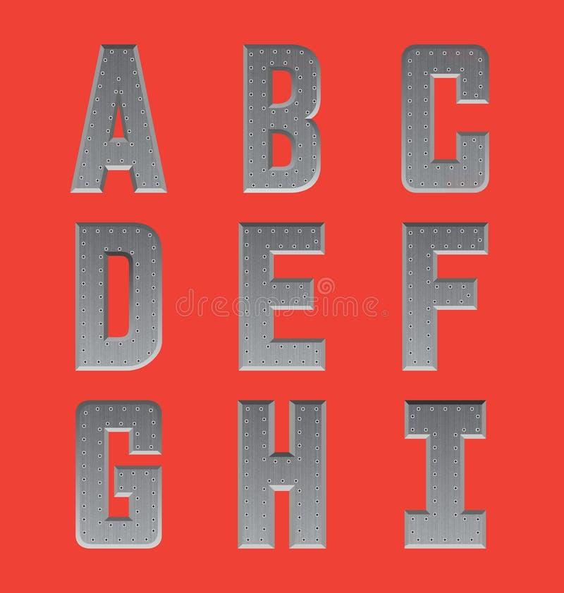 Brushed metal font series 1 stock photos