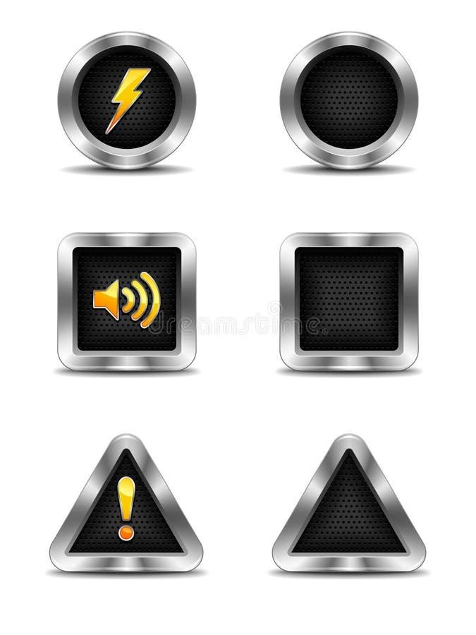 Brushed Metal Frame Icons stock illustration