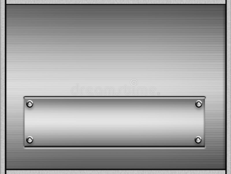 Brushed Metal Plates. Background of a sheet or plaque of shiny silver brushed metal and another brushed metal plate good for any name stock illustration