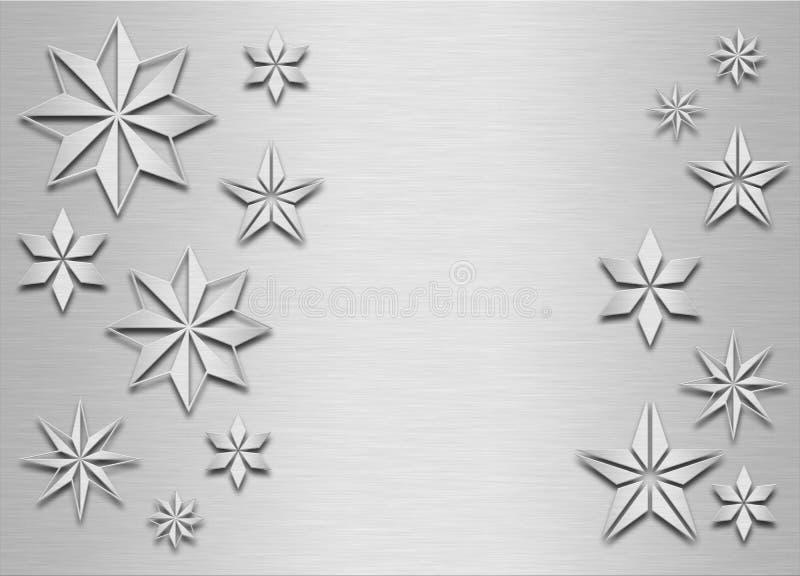 Brushed metal snowflakes royalty free illustration