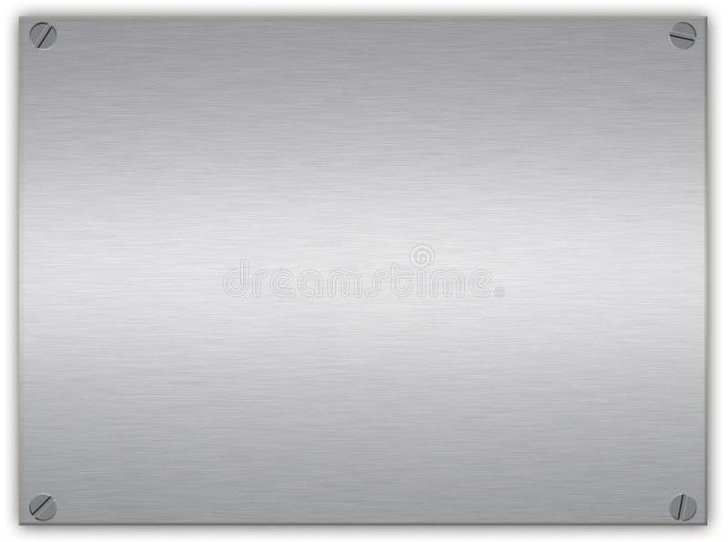 Brushed silver plaque. A brushed silver or aluminium metal plaque with screws in the corners and beveled edge royalty free stock images