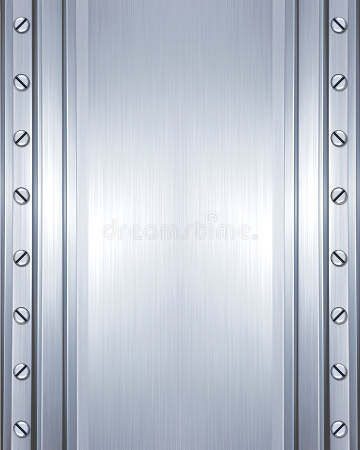 Brushed steel plate with screws royalty free stock photo