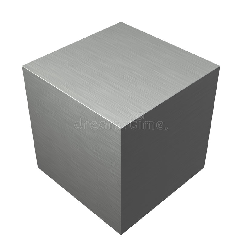 Brushed Texture Metal Steel Cube Stock Image