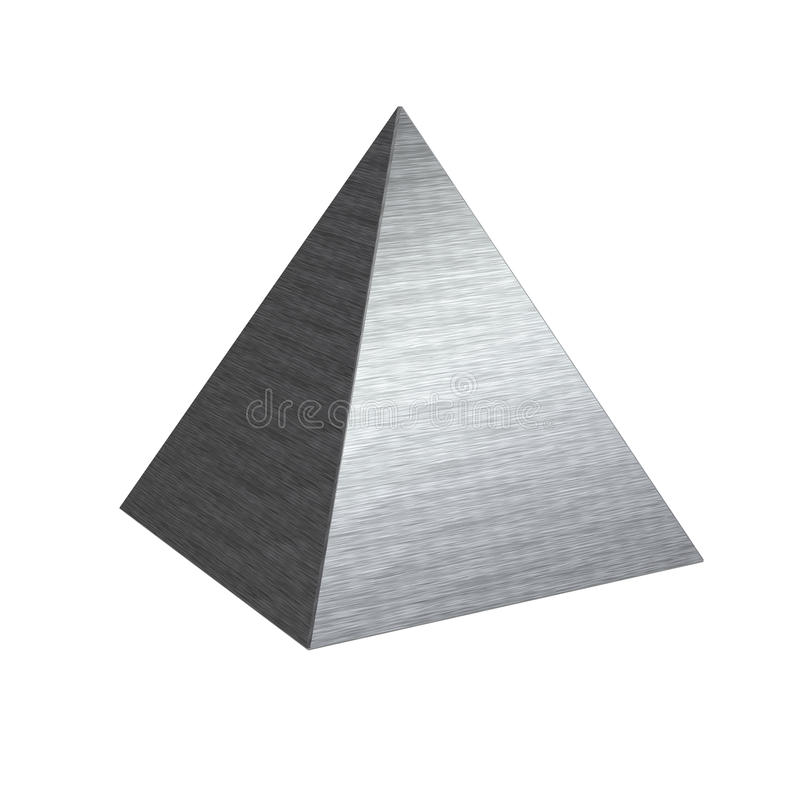 Brushed texture metal steel pyramid. Isolated solid square based pyramid with fine metallic hairlines and bevel edges royalty free stock photography