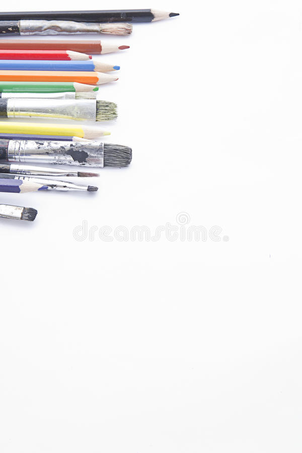 Free Brushes And Coloring Pencils With Copy Space Royalty Free Stock Photo - 16732415