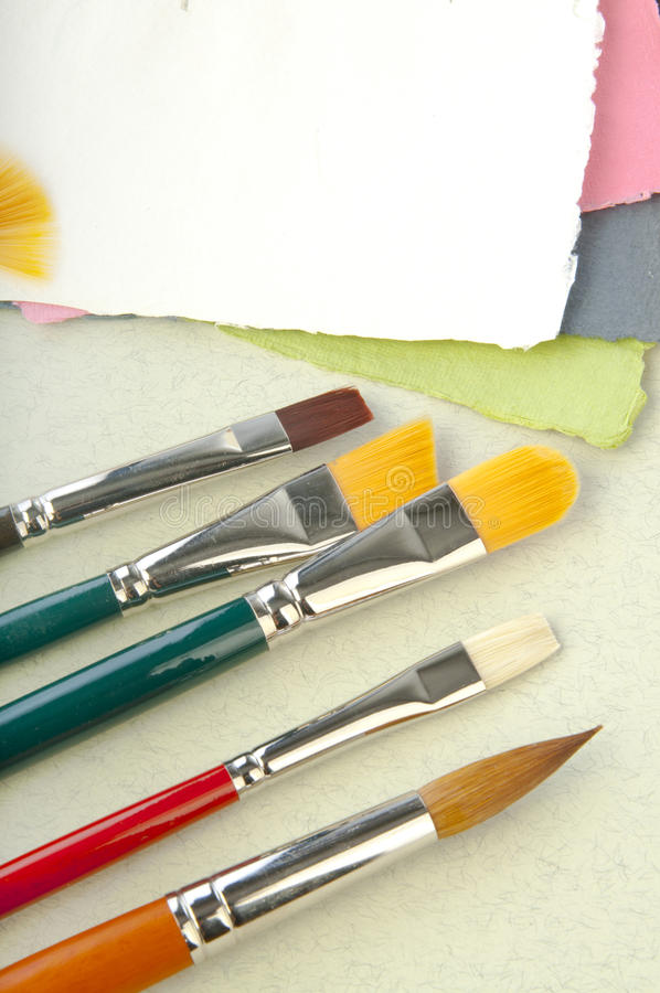 Brushes for card or scrap-booking. Brushes set with paper elements for card or scrap-booking royalty free stock photo