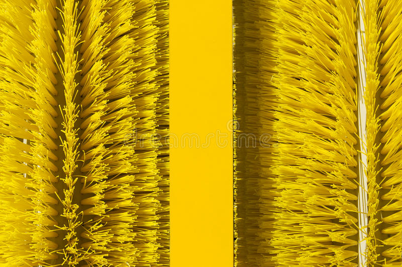 Brushes of cleaning oil spill machine stock images