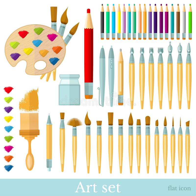 Brushes, color pencils, pens and all colour brushstroke. Big set of flat tools for drawing and paintind isolated on white stock illustration