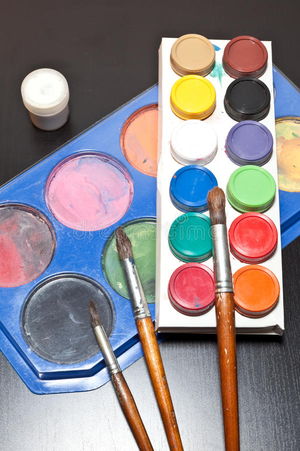 Download Brushes And Colored Paint Artist Royalty Free Stock Image - Image: 38629706