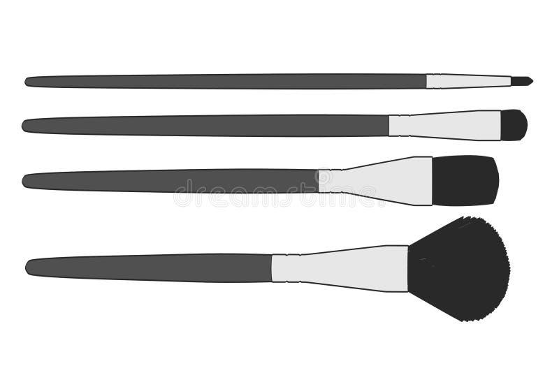 brushes cosmeticen royaltyfri illustrationer