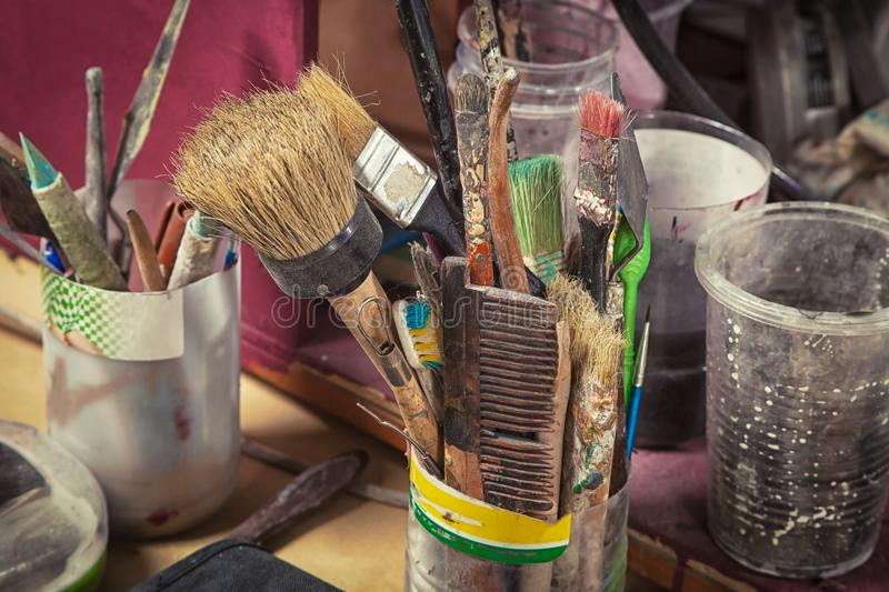 Brushes of different sizes royalty free stock photos