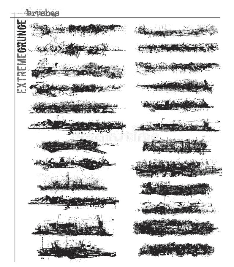 brushes extrem grunge stock illustrationer