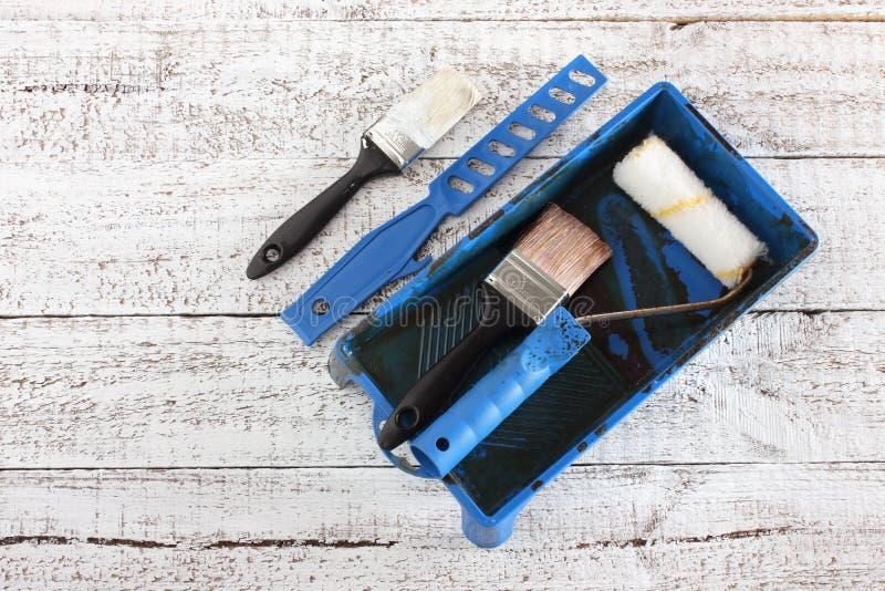 brushes hjälpmedel för målningsrullen royaltyfria foton
