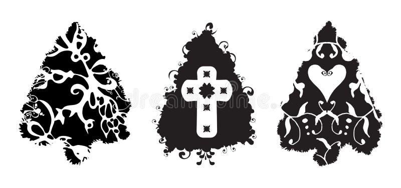 brushes julgrungetrees stock illustrationer