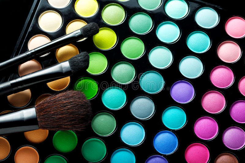 brushes makeup royaltyfri foto